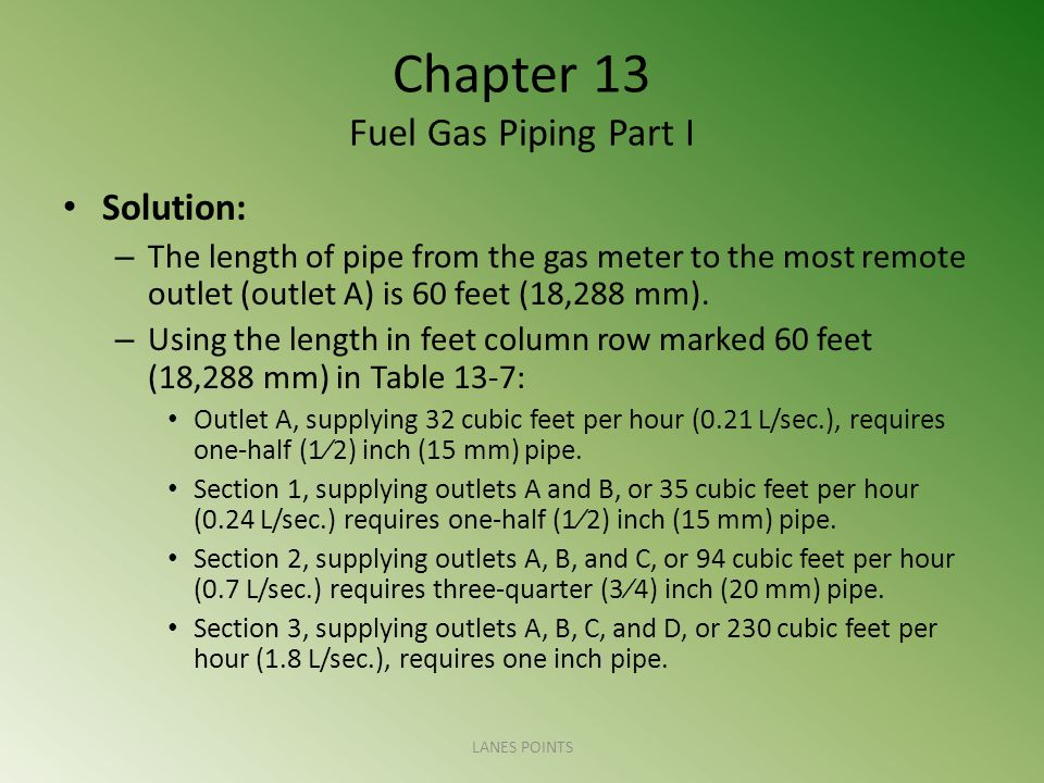 Chapter 13 Fuel Gas Piping Part I Solution: – The length of pipe from the gas meter to the most remote outlet (outlet A) is 60 feet (18,288 mm).