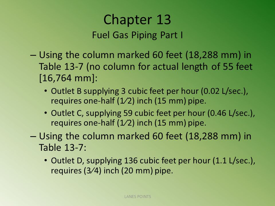 Chapter 13 Fuel Gas Piping Part I – Using the column marked 60 feet (18,288 mm) in Table 13-7 (no column for actual length of 55 feet [16,764 mm]: Outlet B supplying 3 cubic feet per hour (0.02 L/sec.), requires one-half (12) inch (15 mm) pipe.