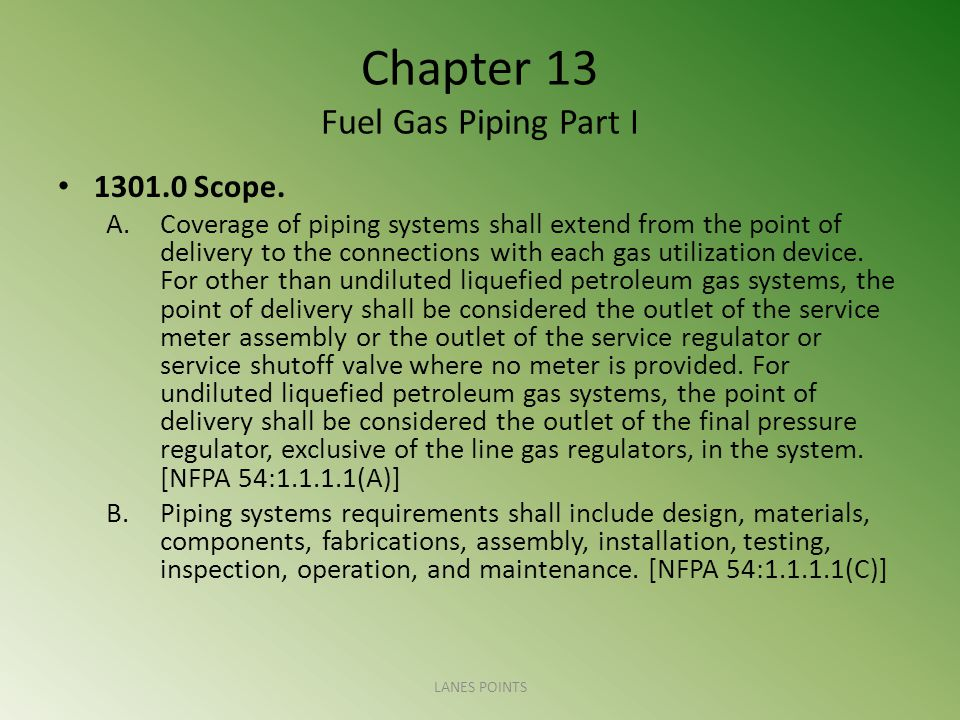 Chapter 13 Fuel Gas Piping Part I 1301.0 Scope.