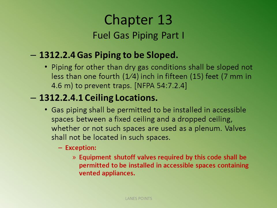 Chapter 13 Fuel Gas Piping Part I – 1312.2.4 Gas Piping to be Sloped.