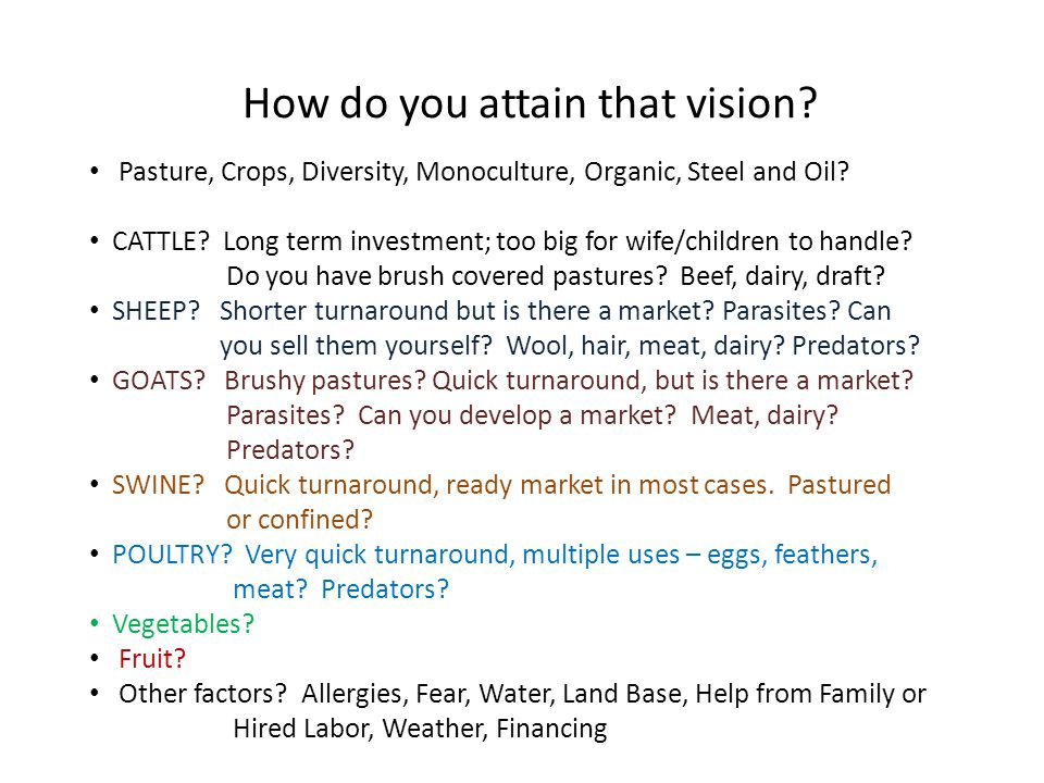 How do you attain that vision. Pasture, Crops, Diversity, Monoculture, Organic, Steel and Oil.