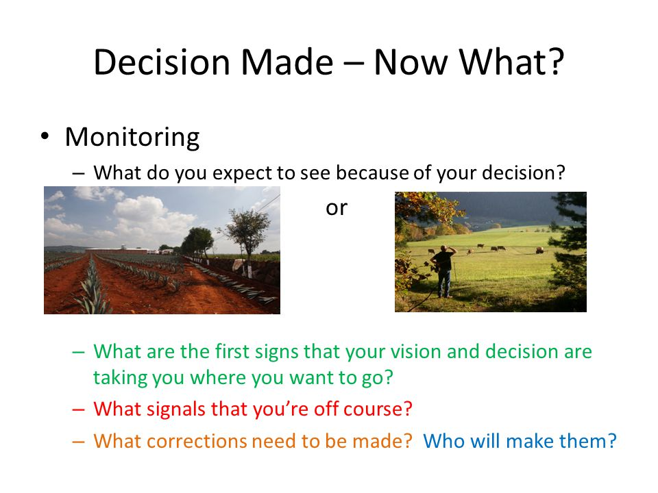 Decision Made – Now What. Monitoring – What do you expect to see because of your decision.