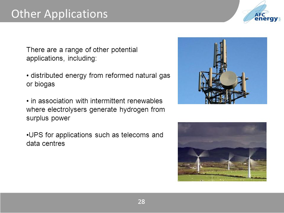 Title Other Applications There are a range of other potential applications, including: distributed energy from reformed natural gas or biogas in assoc