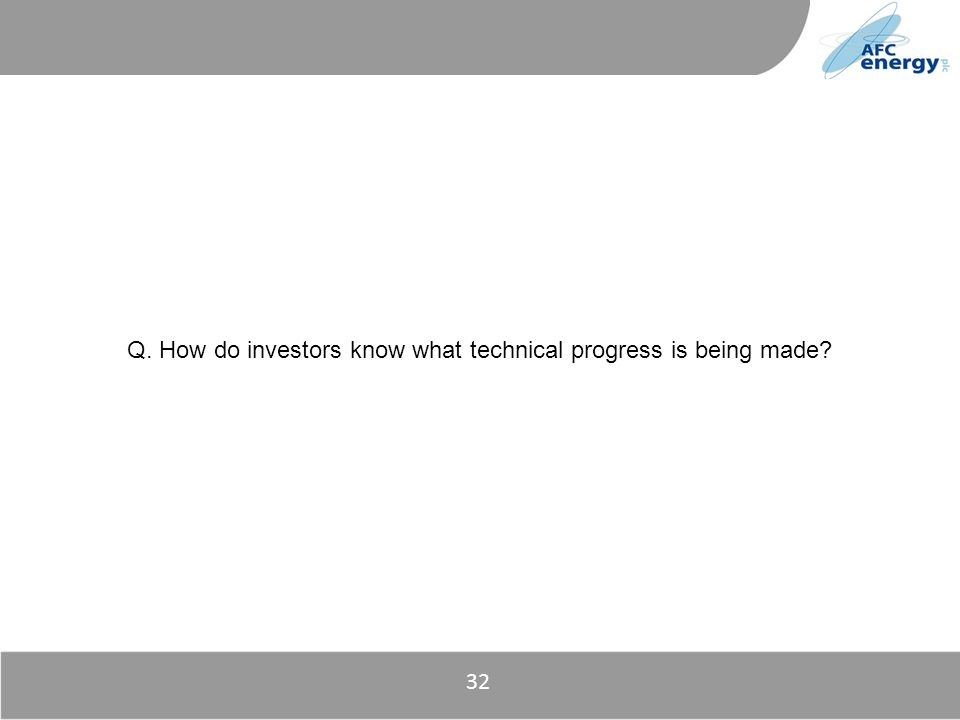 Title Q. How do investors know what technical progress is being made? 32