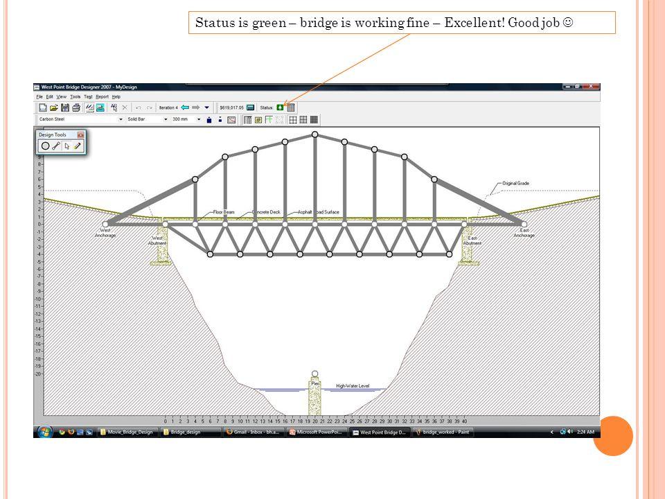 Status is green – bridge is working fine – Excellent! Good job
