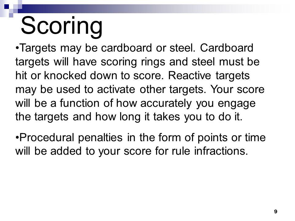9 Scoring Targets may be cardboard or steel.
