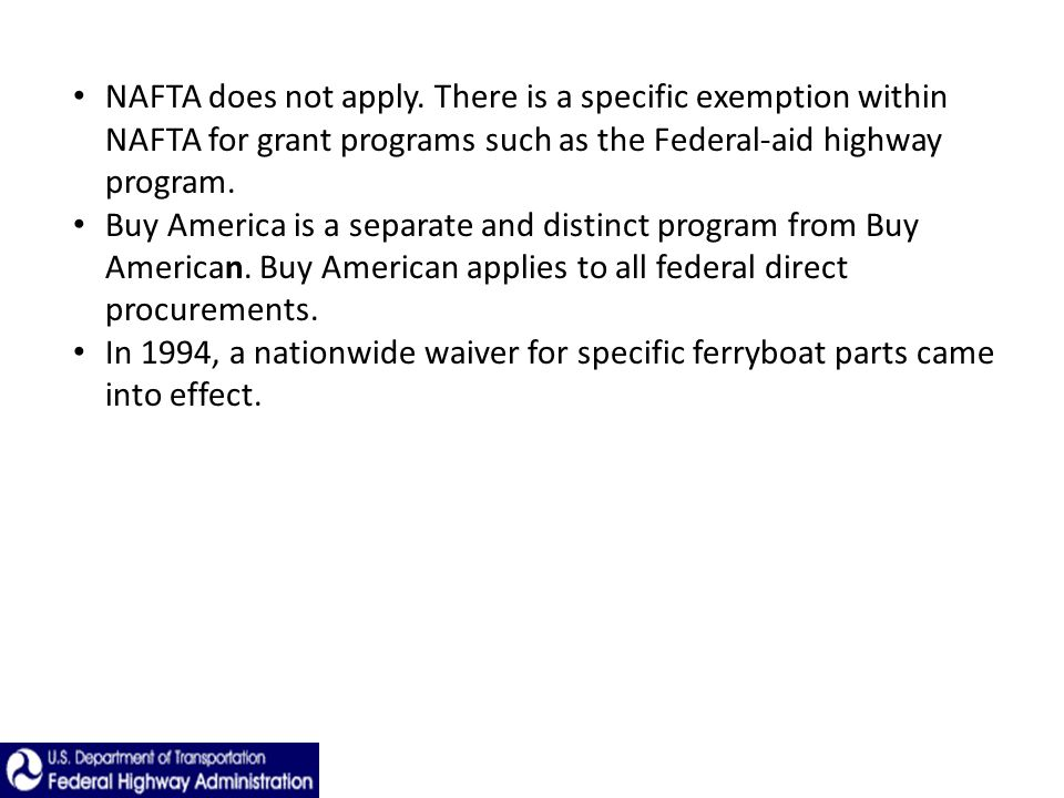 NAFTA does not apply.