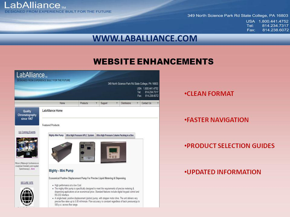 WWW.LABALLIANCE.COM CLEAN FORMAT FASTER NAVIGATION PRODUCT SELECTION GUIDES UPDATED INFORMATION WEBSITE ENHANCEMENTS