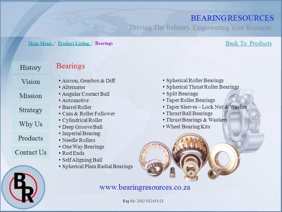 Reg No: 2002/032453/23 BEARING RESOURCES Main Menu Main Menu / Product Listing / BearingsProduct Listing Bearings Aircon, Gearbox & Diff Alternator An