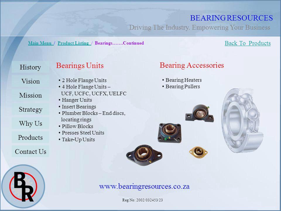 Reg No: 2002/032453/23 BEARING RESOURCES Main Menu Main Menu / Product Listing / Bearings…….ContinuedProduct Listing Bearings Units 2 Hole Flange Unit