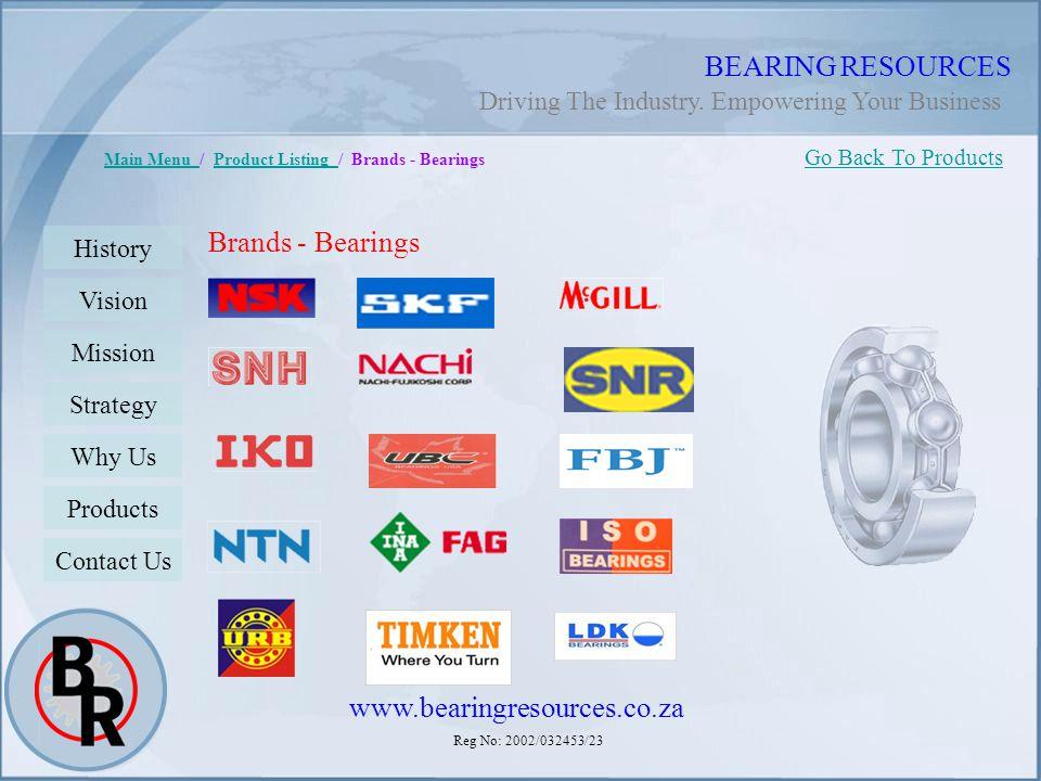 Reg No: 2002/032453/23 BEARING RESOURCES Main Menu Main Menu / Product Listing / Brands - BearingsProduct Listing Brands - Bearings Go Back To Product