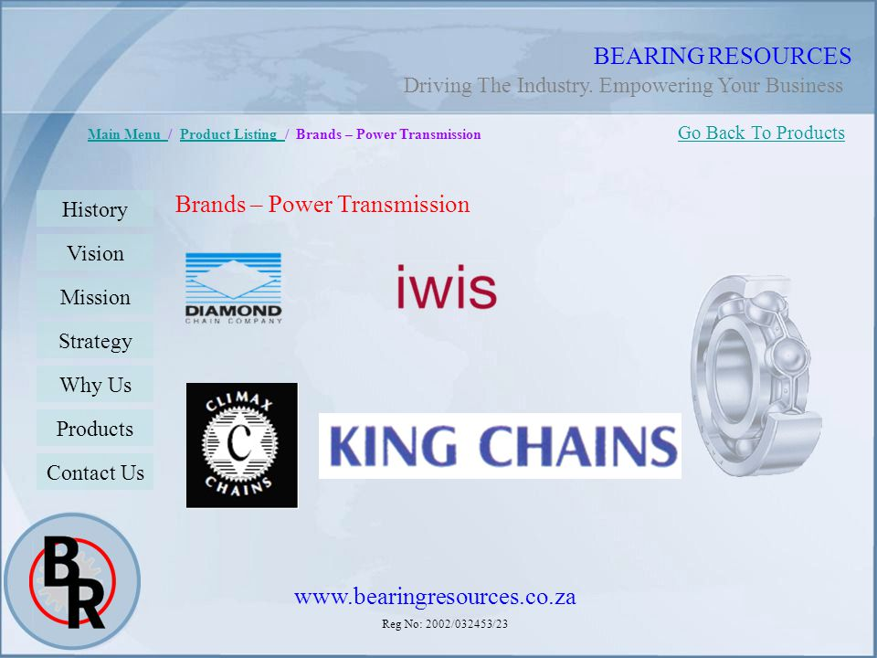 Reg No: 2002/032453/23 BEARING RESOURCES Main Menu Main Menu / Product Listing / Brands – Power TransmissionProduct Listing Brands – Power Transmissio