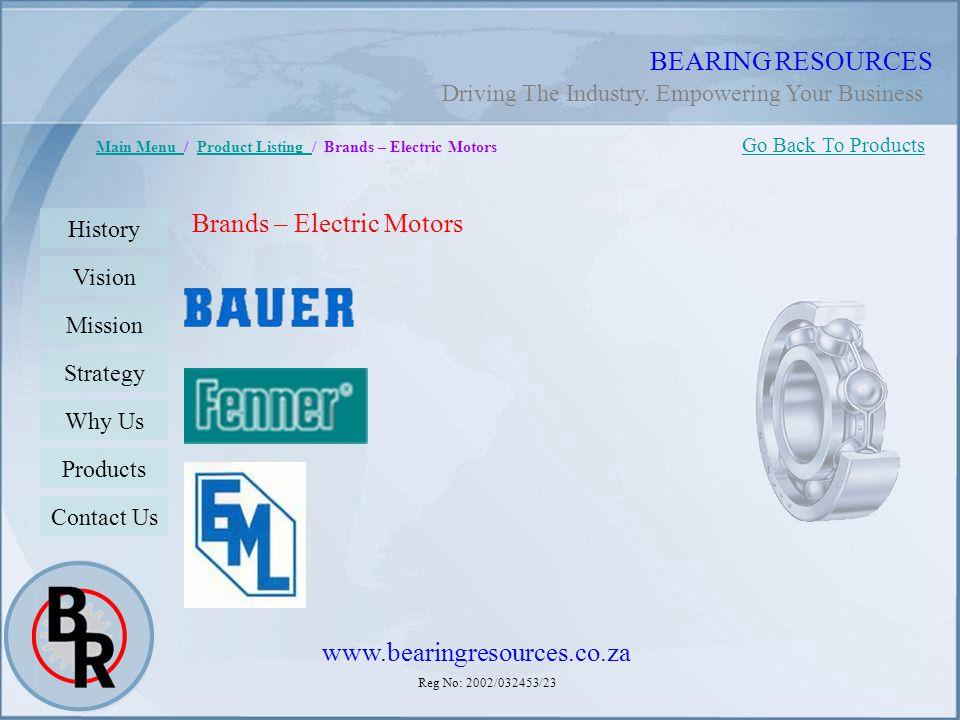 Reg No: 2002/032453/23 BEARING RESOURCES Main Menu Main Menu / Product Listing / Brands – Electric MotorsProduct Listing Brands – Electric Motors Go B