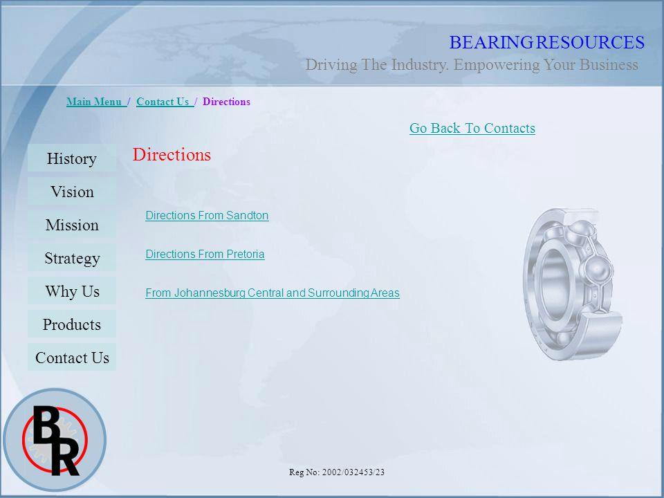 Reg No: 2002/032453/23 BEARING RESOURCES Main Menu Main Menu / Contact Us / DirectionsContact Us Directions Go Back To Contacts History Vision Mission
