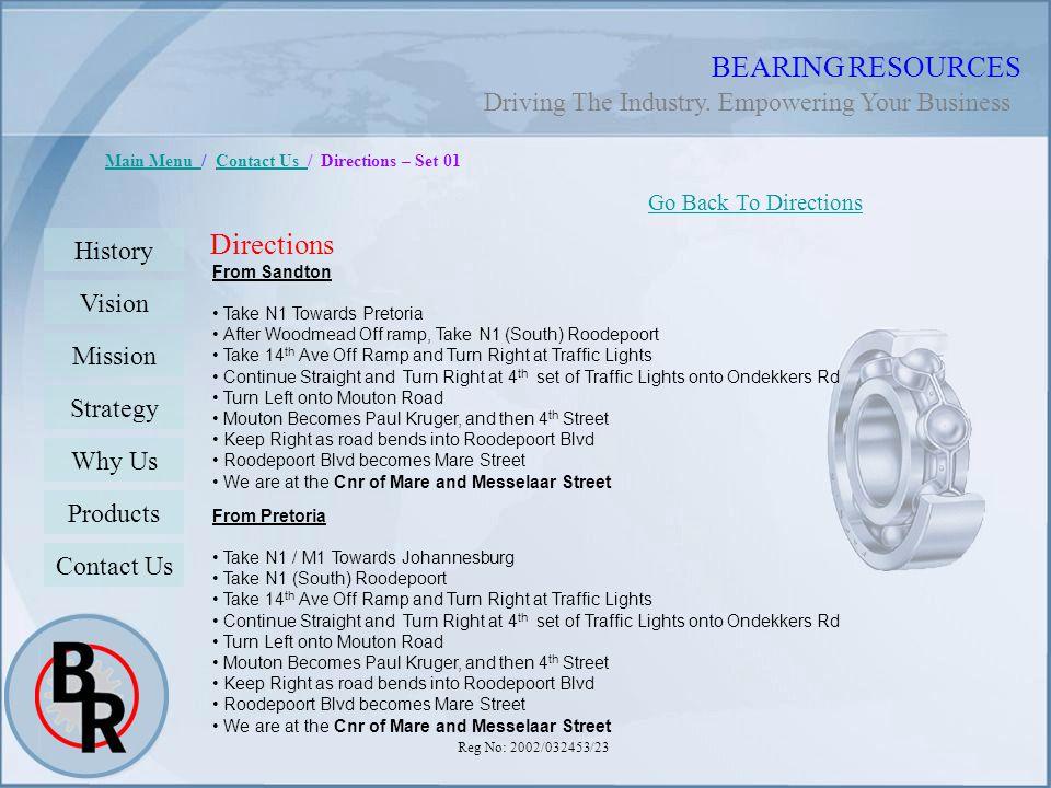 Reg No: 2002/032453/23 BEARING RESOURCES Main Menu Main Menu / Contact Us / Directions – Set 01Contact Us Directions Go Back To Directions History Vis