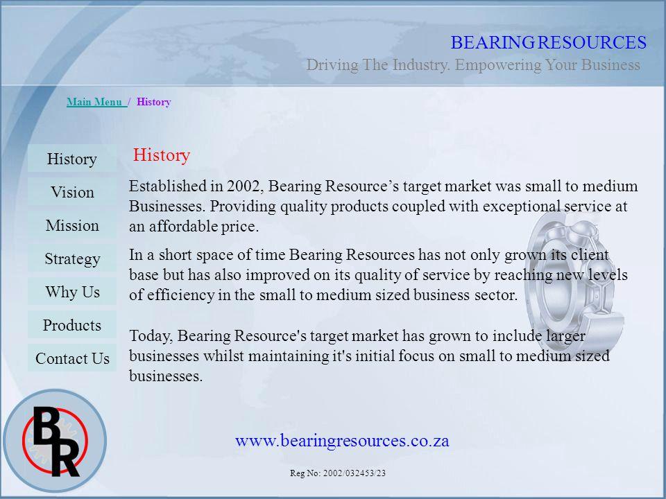Reg No: 2002/032453/23 BEARING RESOURCES Main Menu Main Menu / History Established in 2002, Bearing Resources target market was small to medium Busine