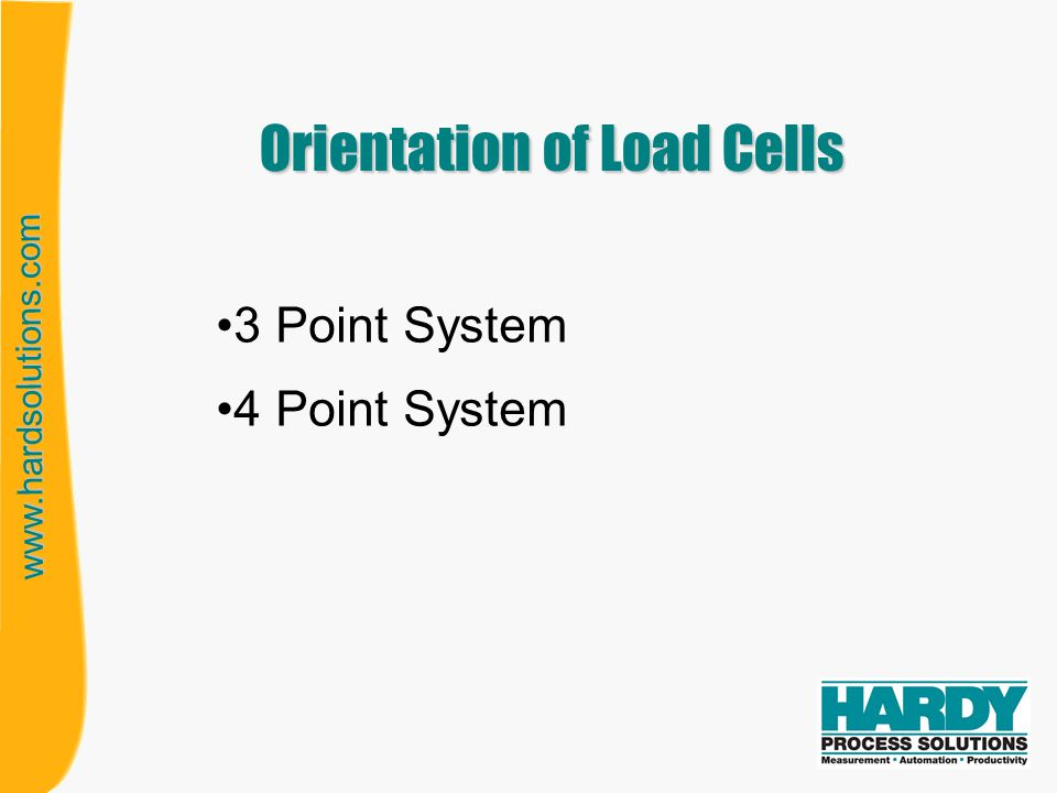 www.hardsolutions.com Orientation of Load Cells 3 Point System 4 Point System
