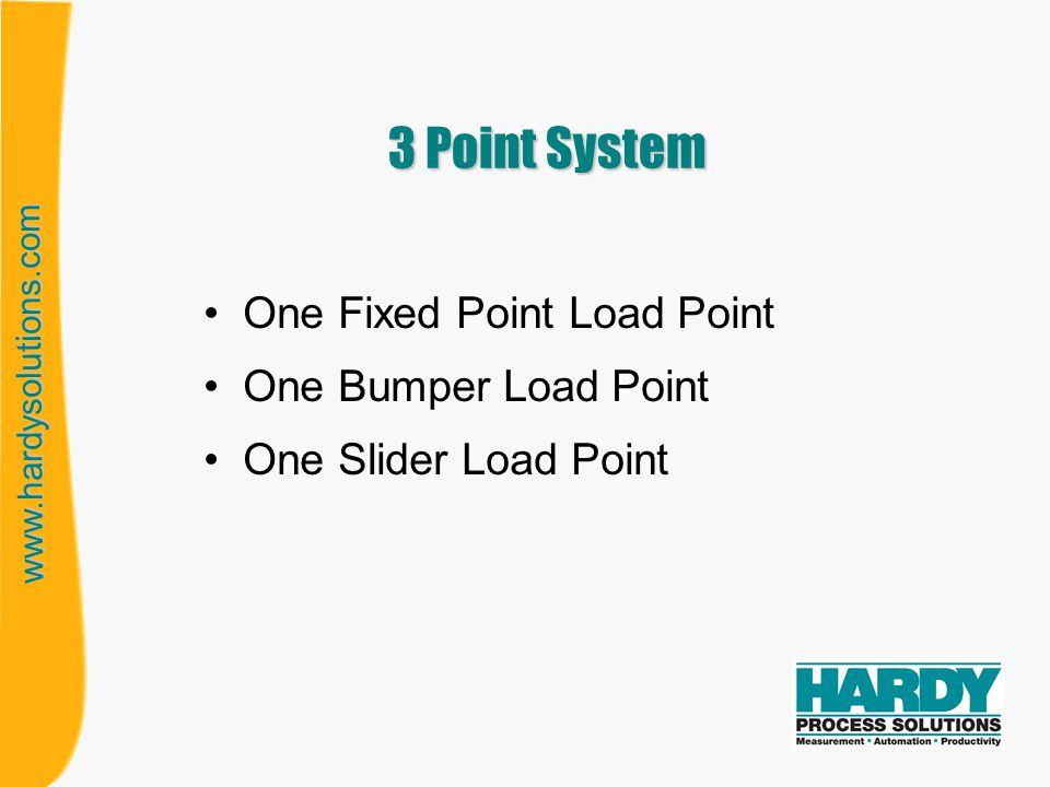 www.hardysolutions.com 4 Point System One Fixed Point Load Point One Bumper Load Point Two Slider Load Points