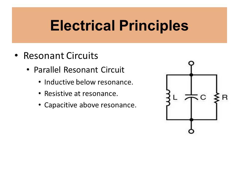 Electrical Principles Resonant Circuits Parallel Resonant Circuit Inductive below resonance. Resistive at resonance. Capacitive above resonance.