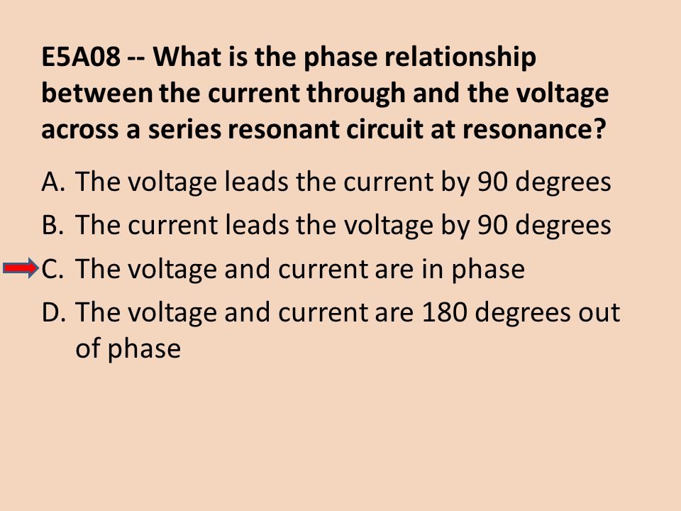 E5A08 -- What is the phase relationship between the current through and the voltage across a series resonant circuit at resonance? A.The voltage leads