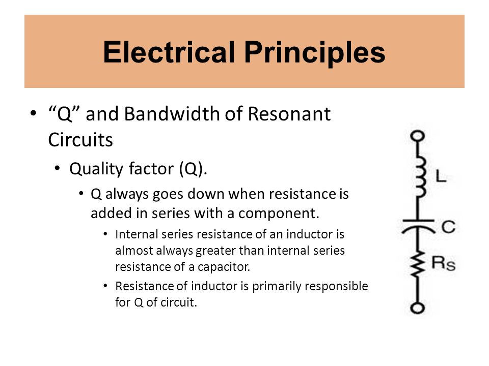 Electrical Principles Q and Bandwidth of Resonant Circuits Quality factor (Q). Q always goes down when resistance is added in series with a component.