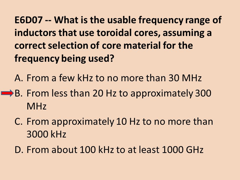 E6D07 -- What is the usable frequency range of inductors that use toroidal cores, assuming a correct selection of core material for the frequency bein