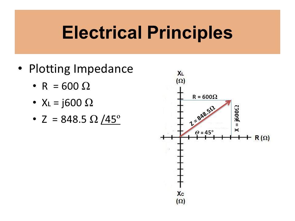 Electrical Principles Plotting Impedance R = 600 Ω X L = j600 Ω Z = 848.5 Ω /45 º X = j600 Ω R = 600 Ω Z = 848.5 Ω Θ = 45 º