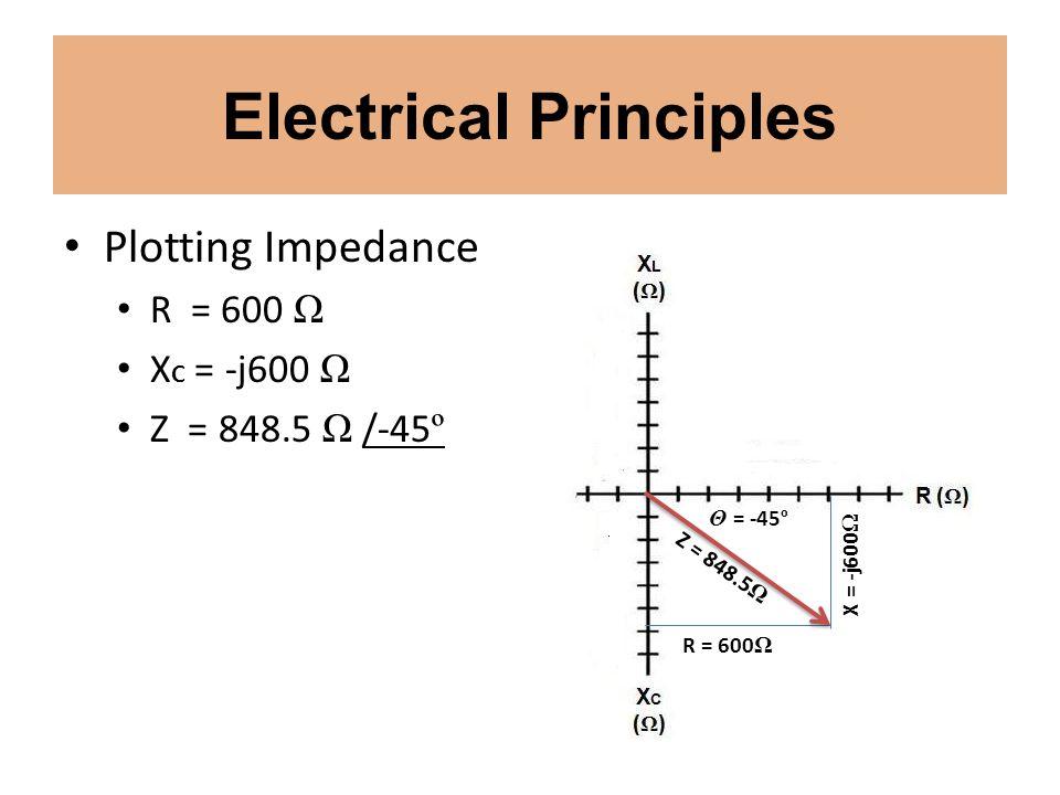 Electrical Principles Plotting Impedance R = 600 Ω X C = -j600 Ω Z = 848.5 Ω /-45 º X = -j600 Ω R = 600 Ω Z = 848.5 Ω Θ = -45 º