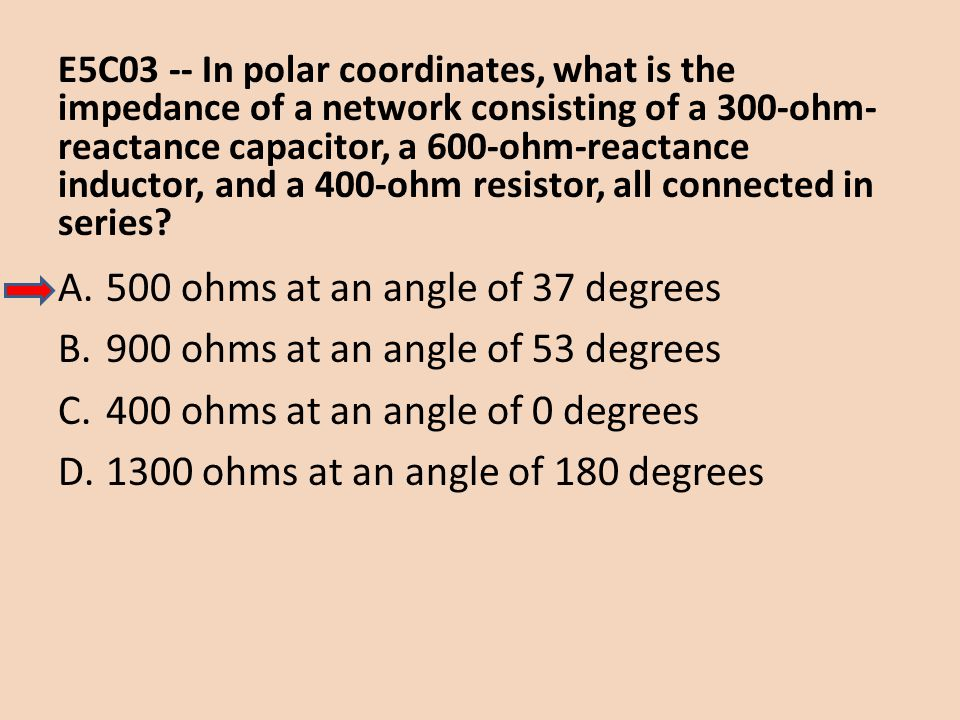 E5C03 -- In polar coordinates, what is the impedance of a network consisting of a 300-ohm- reactance capacitor, a 600-ohm-reactance inductor, and a 40