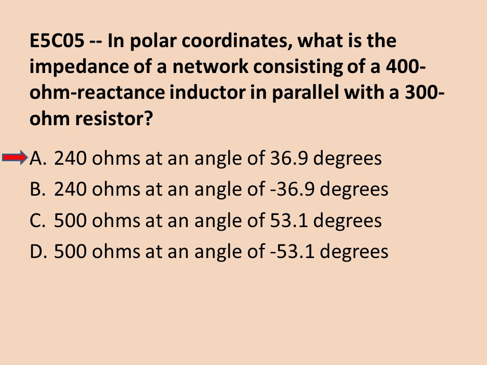 E5C05 -- In polar coordinates, what is the impedance of a network consisting of a 400- ohm-reactance inductor in parallel with a 300- ohm resistor? A.