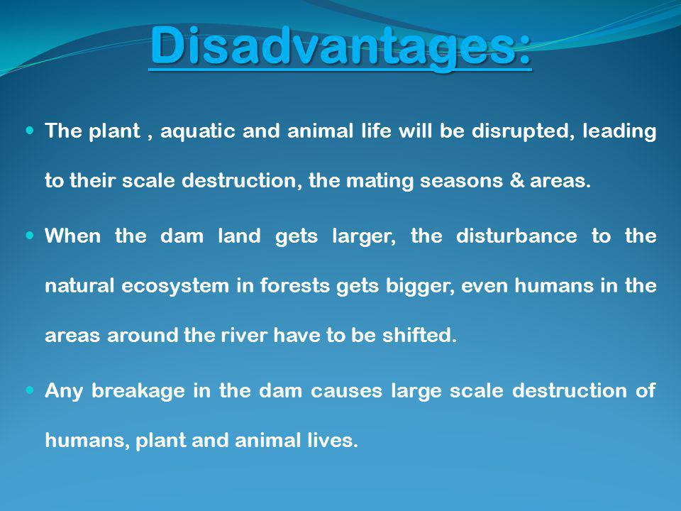 Disadvantages: The plant, aquatic and animal life will be disrupted, leading to their scale destruction, the mating seasons & areas.