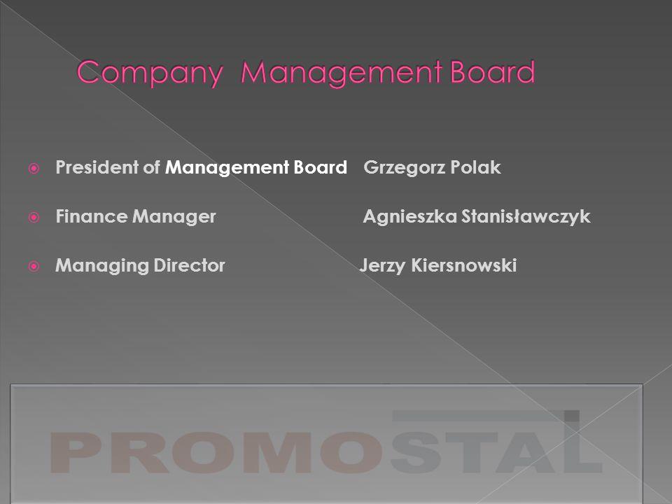 President of Management Board Grzegorz Polak Finance Manager Agnieszka Stanisławczyk Managing Director Jerzy Kiersnowski