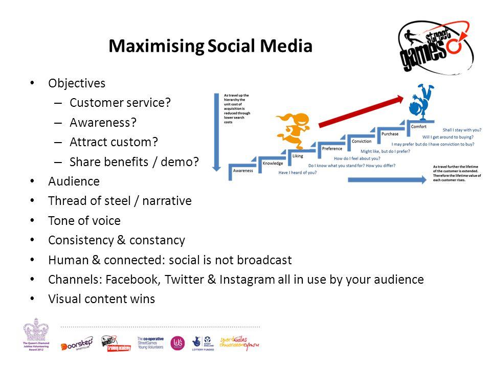 Maximising Social Media Objectives – Customer service? – Awareness? – Attract custom? – Share benefits / demo? Audience Thread of steel / narrative To