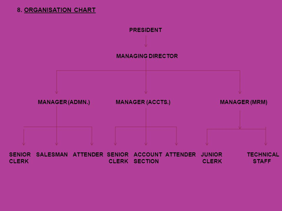 8.ORGANISATION CHART PRESIDENT MANAGING DIRECTOR MANAGER (ADMN.)MANAGER (ACCTS.) MANAGER (MRM) SENIOR SALESMAN ATTENDER SENIOR ACCOUNT ATTENDER JUNIOR TECHNICAL CLERK CLERK SECTION CLERK STAFF