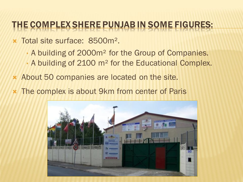 Total site surface: 8500m². A building of 2000m² for the Group of Companies.