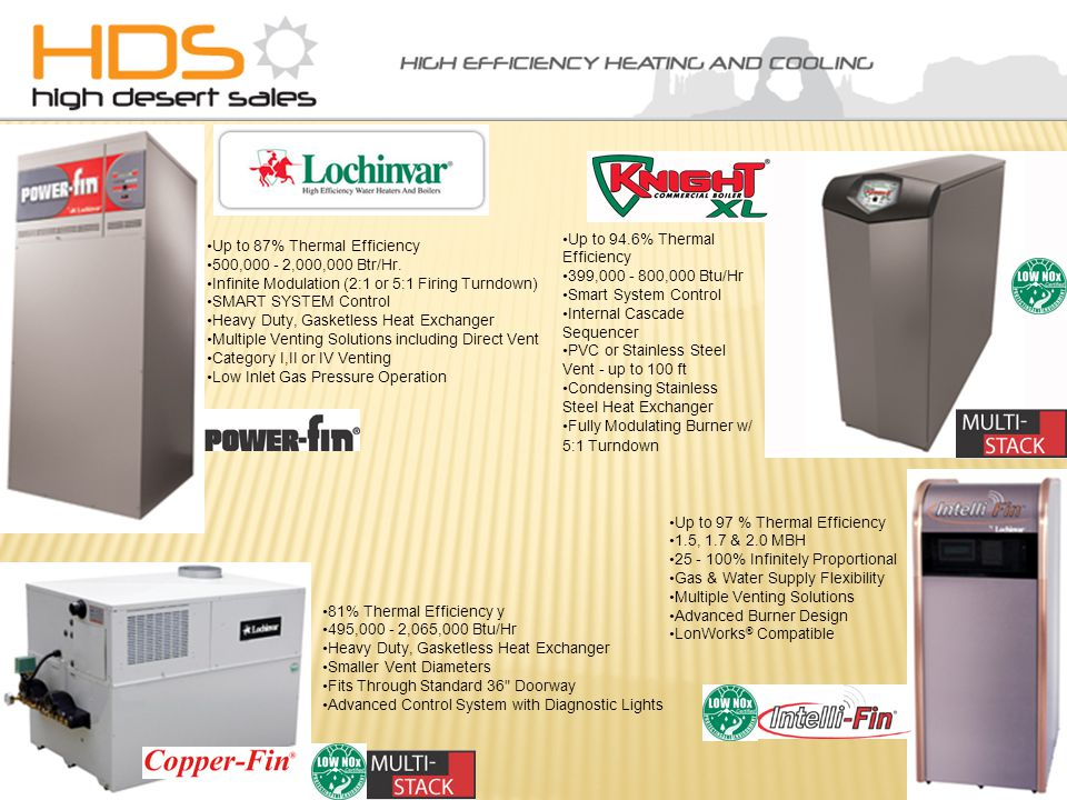 Up to 87% Thermal Efficiency 500,000 - 2,000,000 Btr/Hr.