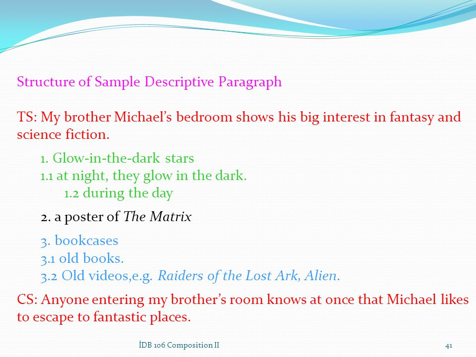 Structure of Sample Descriptive Paragraph TS: My brother Michaels bedroom shows his big interest in fantasy and science fiction. 1. Glow-in-the-dark s