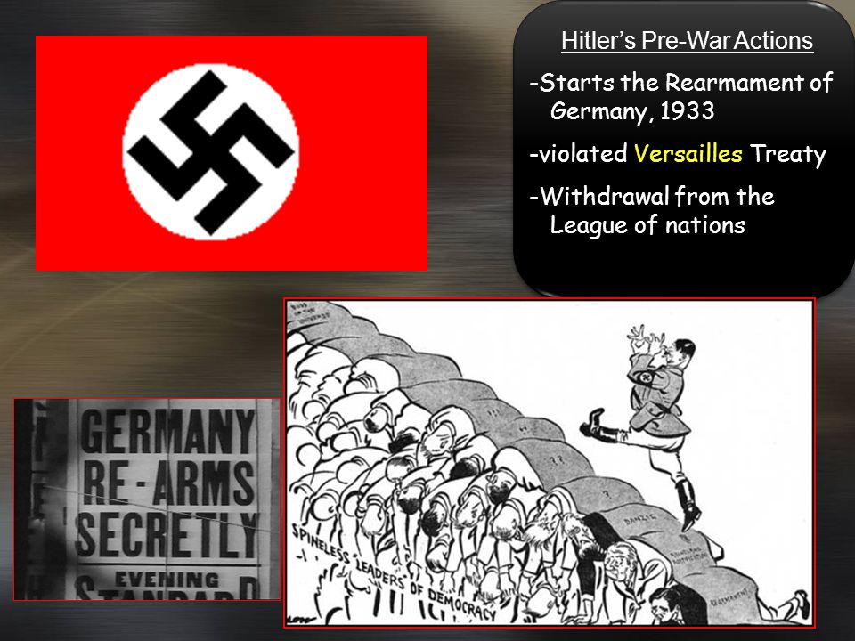 Hitlers Pre-War Actions -Starts the Rearmament of Germany, 1933 -violated Versailles Treaty -Withdrawal from the League of nations