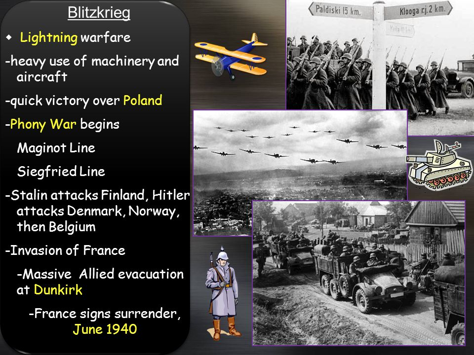 Blitzkrieg Lightning warfare -heavy use of machinery and aircraft -quick victory over Poland -Phony War begins Maginot Line Siegfried Line -Stalin att