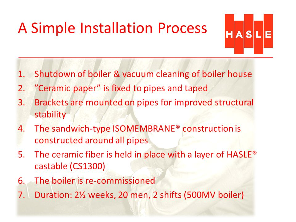 A Simple Installation Process 1.Shutdown of boiler & vacuum cleaning of boiler house 2.Ceramic paper is fixed to pipes and taped 3.Brackets are mounte