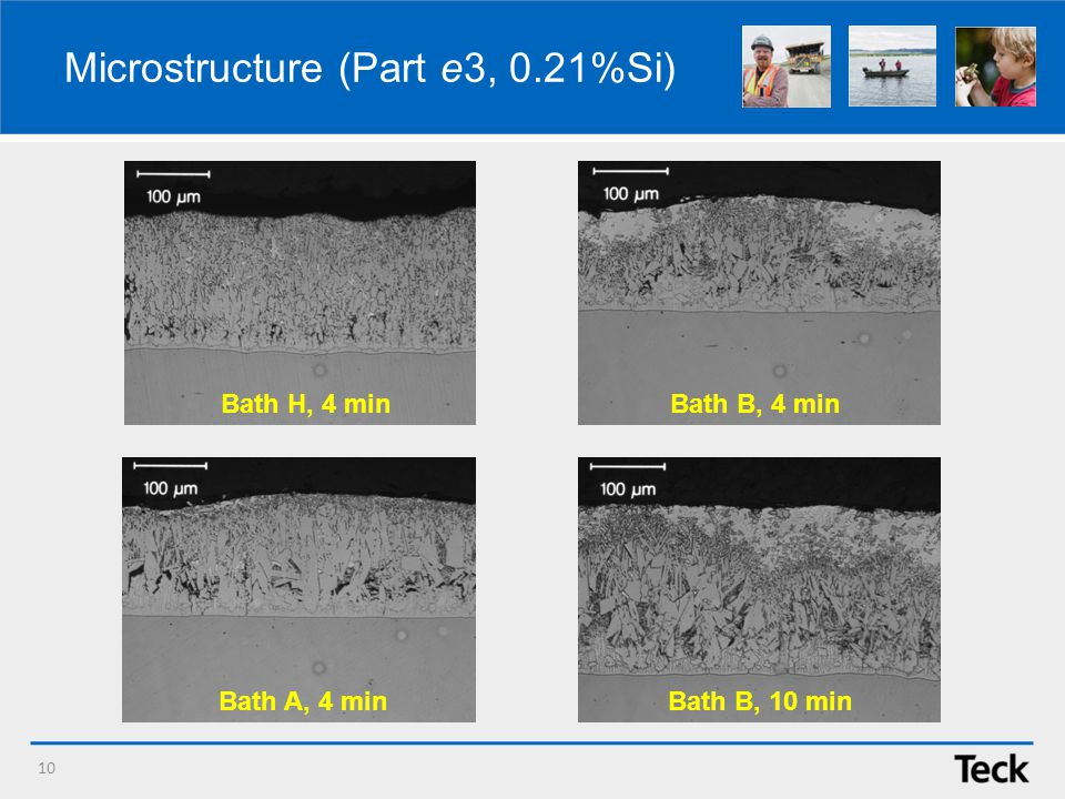 Microstructure (Part e3, 0.21%Si) 10 Bath B, 10 min Bath B, 4 minBath H, 4 min Bath A, 4 min