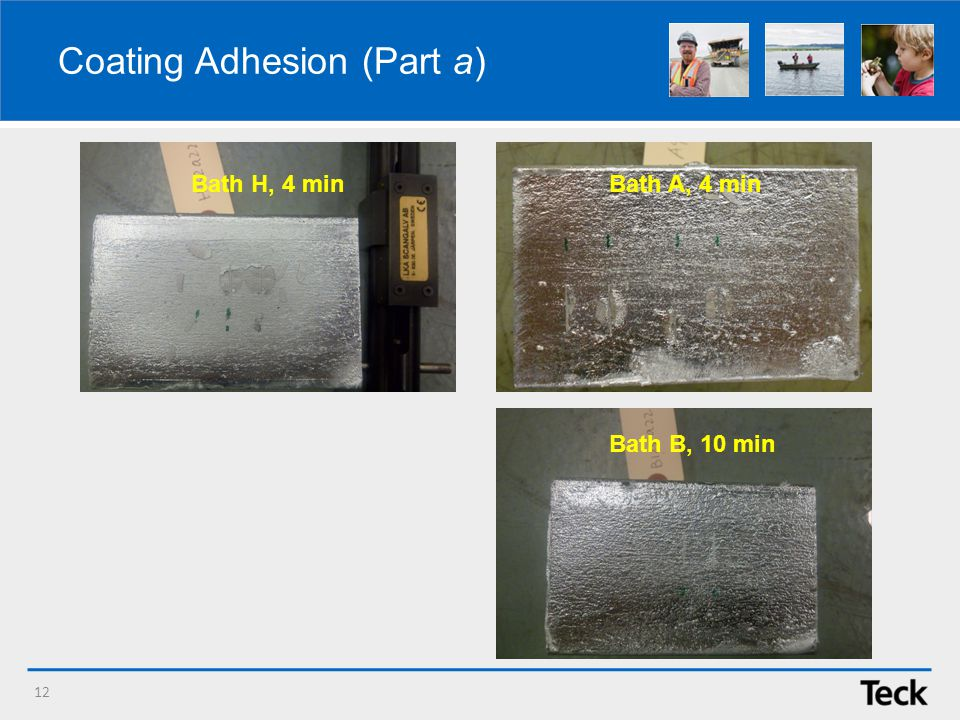 Coating Adhesion (Part a) 12 Bath H, 4 min Bath B, 10 min Bath A, 4 min