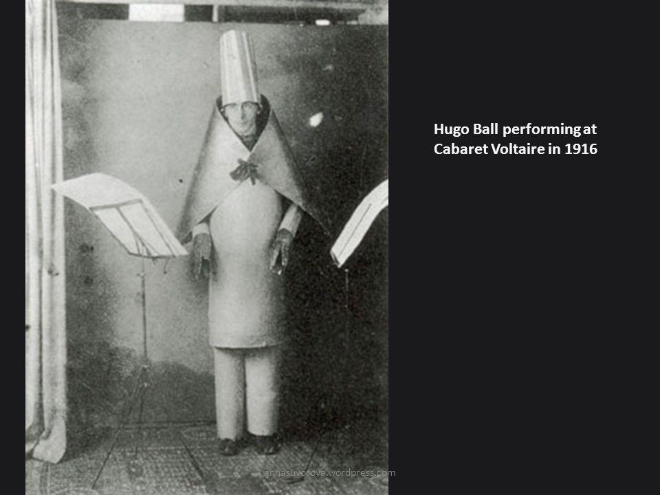 Hugo Ball performing at Cabaret Voltaire in 1916 annasuvorova.wordpress.com