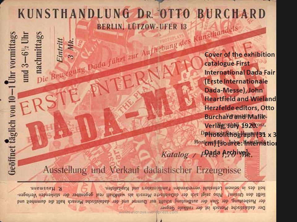 Cover of the exhibition catalogue First International Dada Fair (Erste Internationale Dada-Messe), John Heartfield and Wieland Herzfelde editors, Otto Burchard and Malik- Verlag, July 1920.