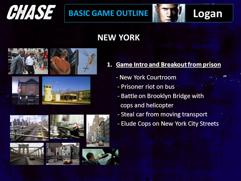 NEW YORK 1.Game Intro and Breakout from prison - New York Courtroom - Prisoner riot on bus - Battle on Brooklyn Bridge with cops and helicopter - Steal car from moving transport - Elude Cops on New York City Streets Logan BASIC GAME OUTLINE