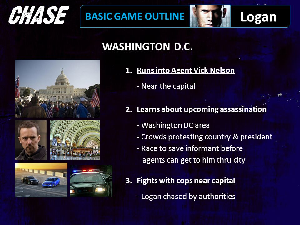 WASHINGTON D.C. 1.Runs into Agent Vick Nelson - Near the capital 2.Learns about upcoming assassination - Washington DC area - Crowds protesting countr