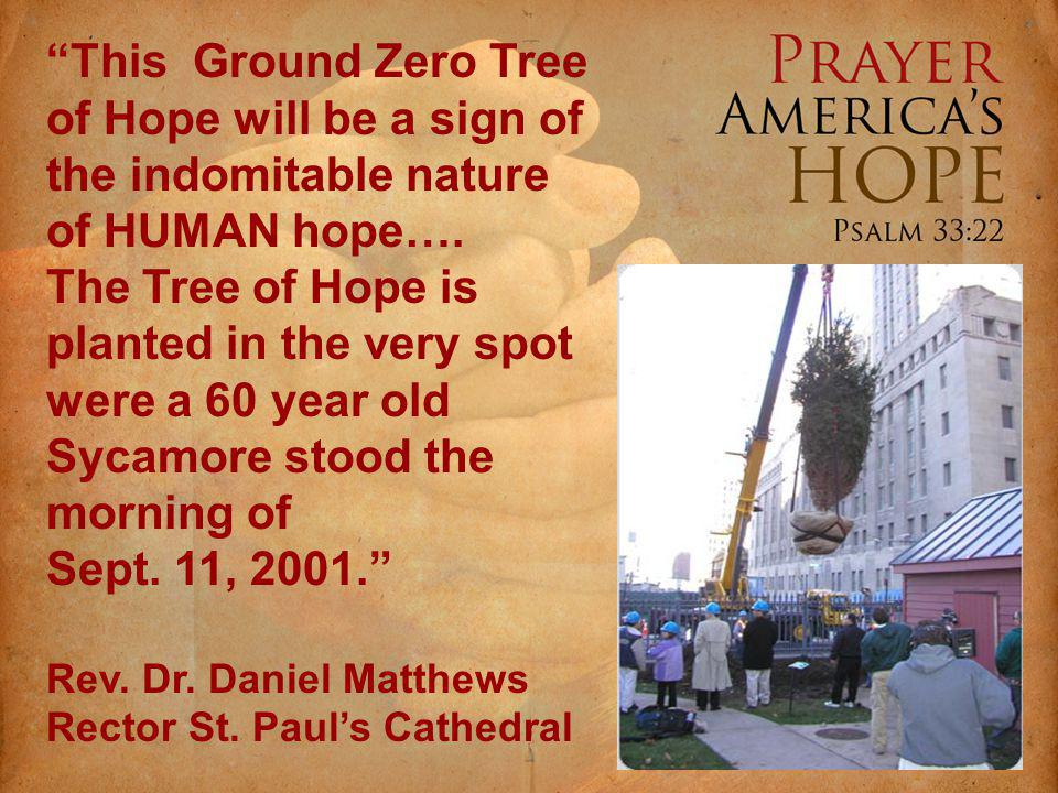 This Ground Zero Tree of Hope will be a sign of the indomitable nature of HUMAN hope….