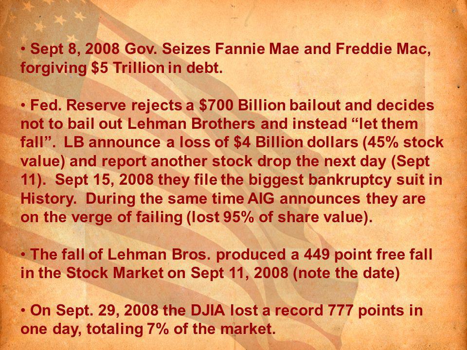Sept 8, 2008 Gov. Seizes Fannie Mae and Freddie Mac, forgiving $5 Trillion in debt.