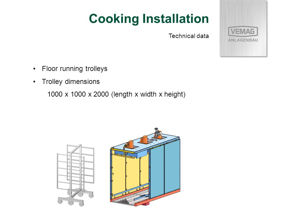 Floor running trolleys Trolley dimensions 1000 x 1000 x 2000 (length x width x height) Cooking Installation Technical data