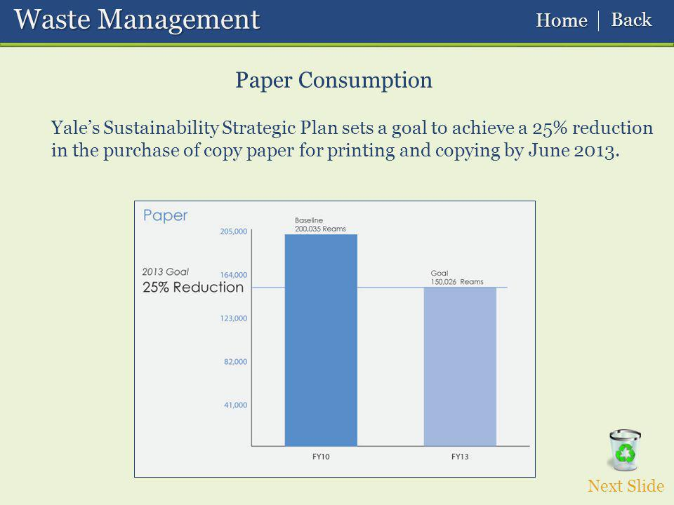 Yales Sustainability Strategic Plan sets a goal to achieve a 25% reduction in the purchase of copy paper for printing and copying by June 2013.
